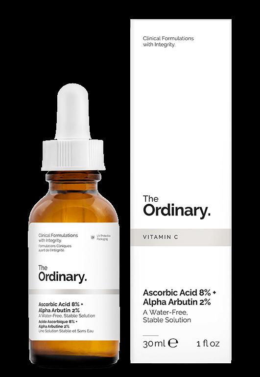 Serum rozjaśniające zwitaminą C ialfa-arbutyną The Ordinary