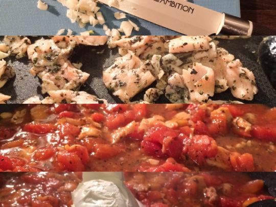 Makaron z wędzonym łososiem i pomidorami